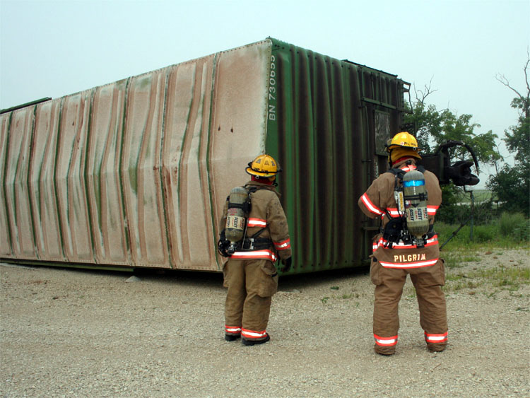 Box car on its side