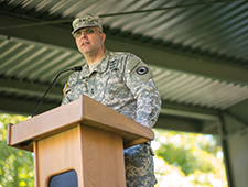 Major General Lee Tafanelli at the podium