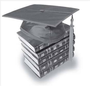 Mortar board on top of stack of books